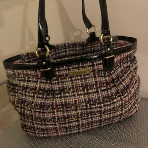 New no tags pink and black tweed coach purse